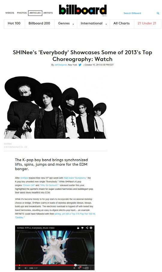 SHINee(シャイニー)新曲「Everybody」、米ビルボードが「2013年最高のパフォーマンス」賞賛