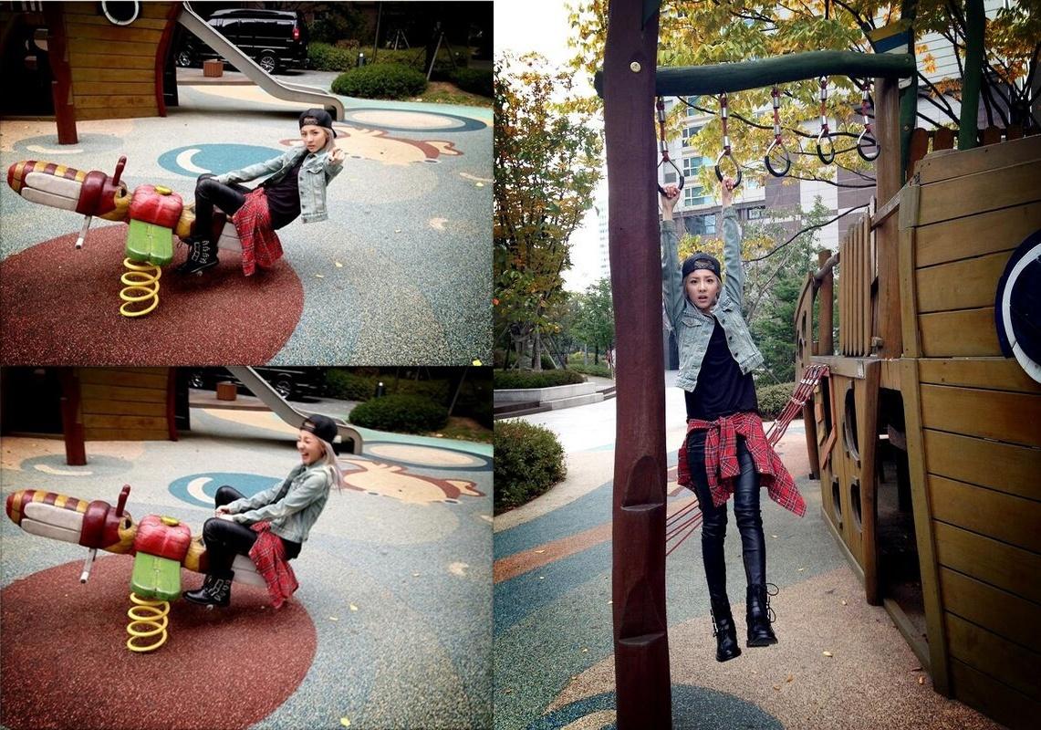2NE1ダラ、公園で一人遊び、シーソーが思ったより怖い?!