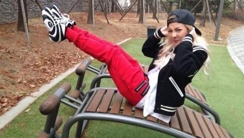 2NE1メンバーDARA(ダラ)、公園で腹筋運動の認証ショット!「忙しいくてジムにいけない…」