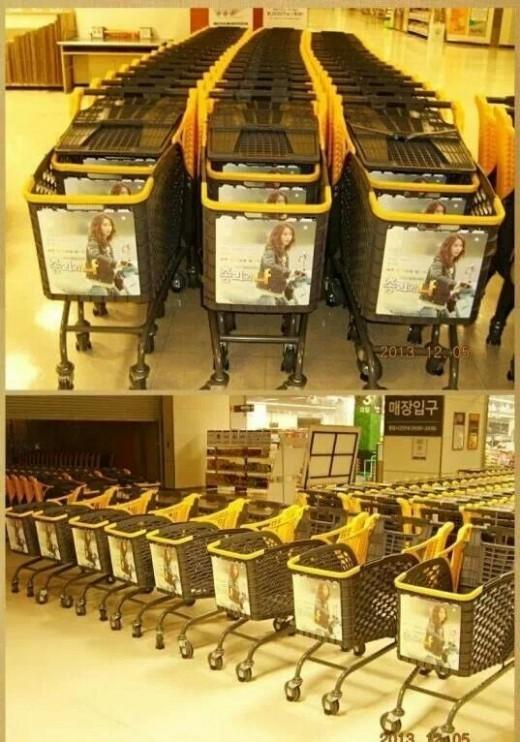 中国ファンの愛!ドラマ「総理と私」少女時代ユナ、スーパーのショッピングカートを占拠!